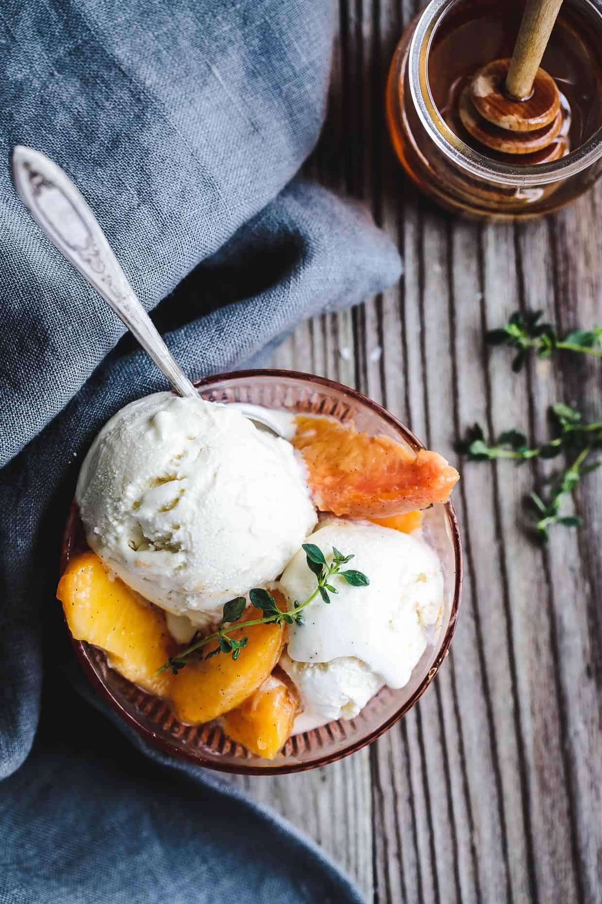 Honey and Lemon Thyme Ricotta Ice Cream with Vanilla Peaches