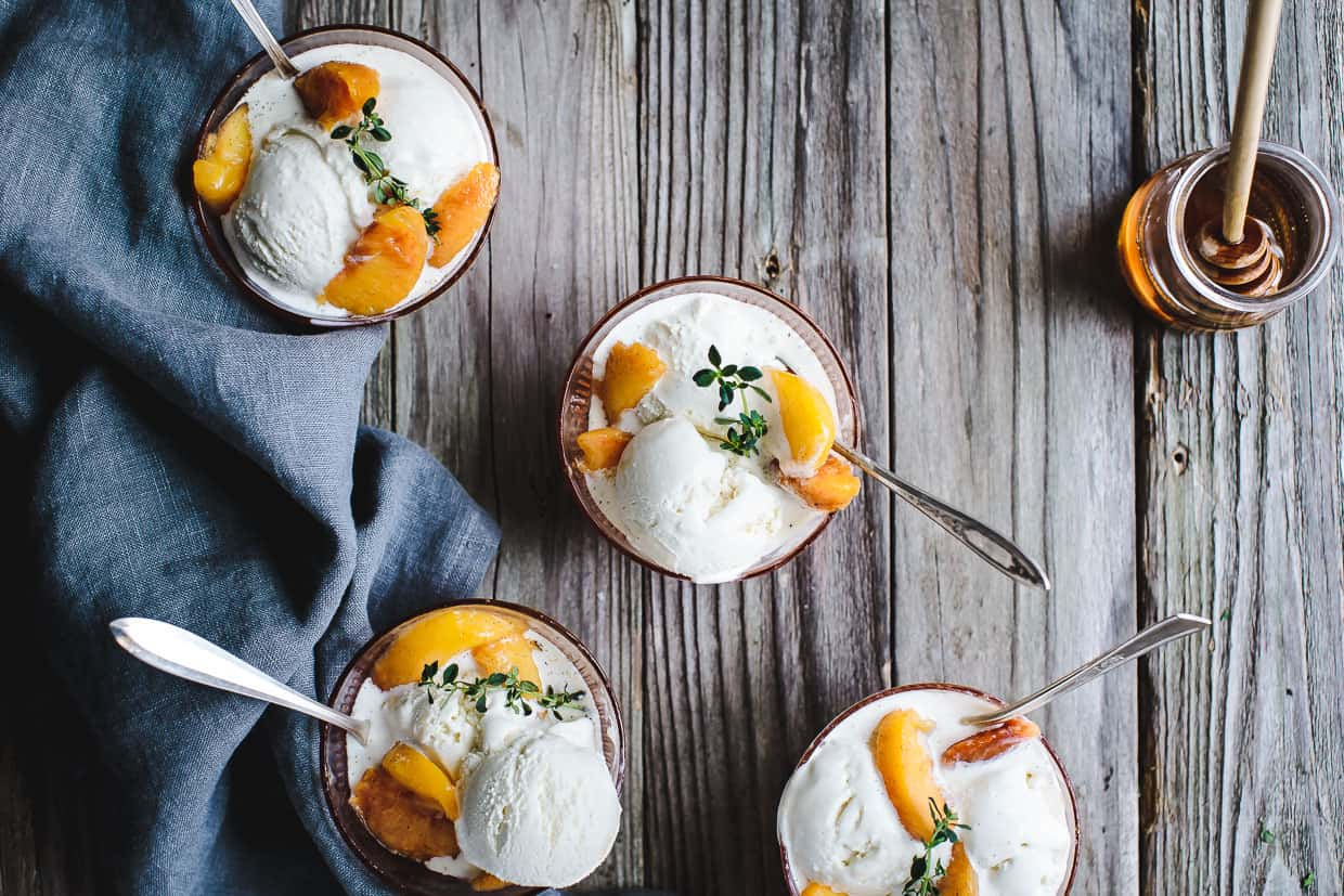 Honey and Lemon Thyme Ricotta Ice Cream with Vanilla Peaches