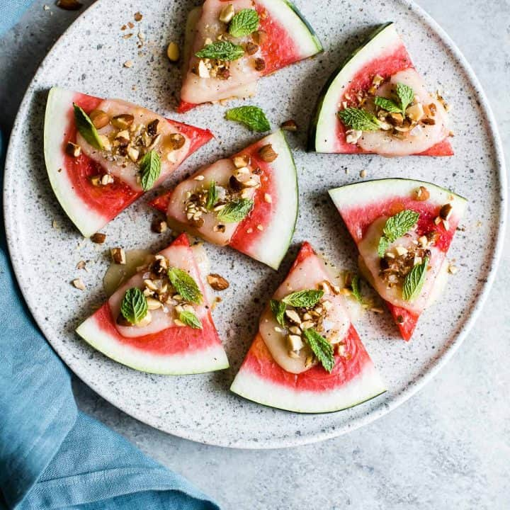 Summer Appetizer: Charred Watermelon Cheese Wedges with Mint