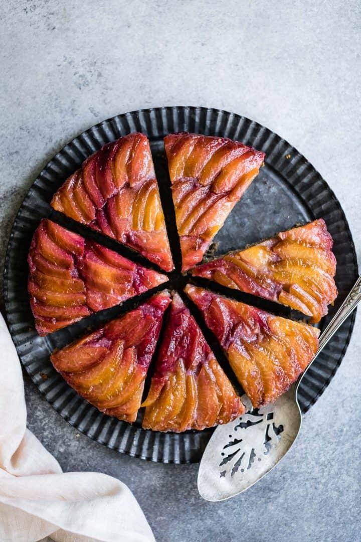 Chestnut Plum Upside-Down Cake - Gluten-Free