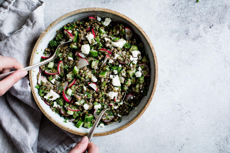 Cucumber Lentil Salad with Feta