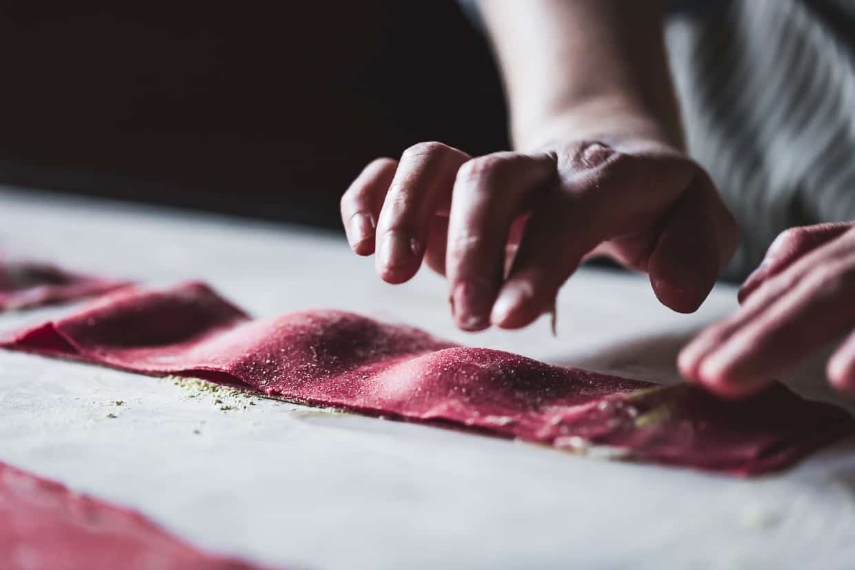 Chickpea Beet Ravioli with Herbed Ricotta