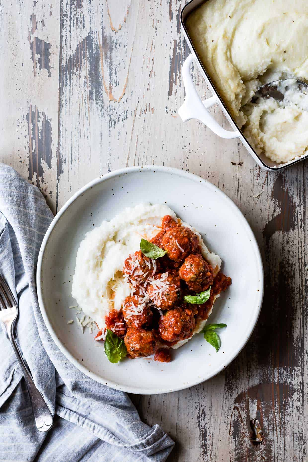 Zucchini Gouda Turkey Meatballs with Cheesy Baked Polenta