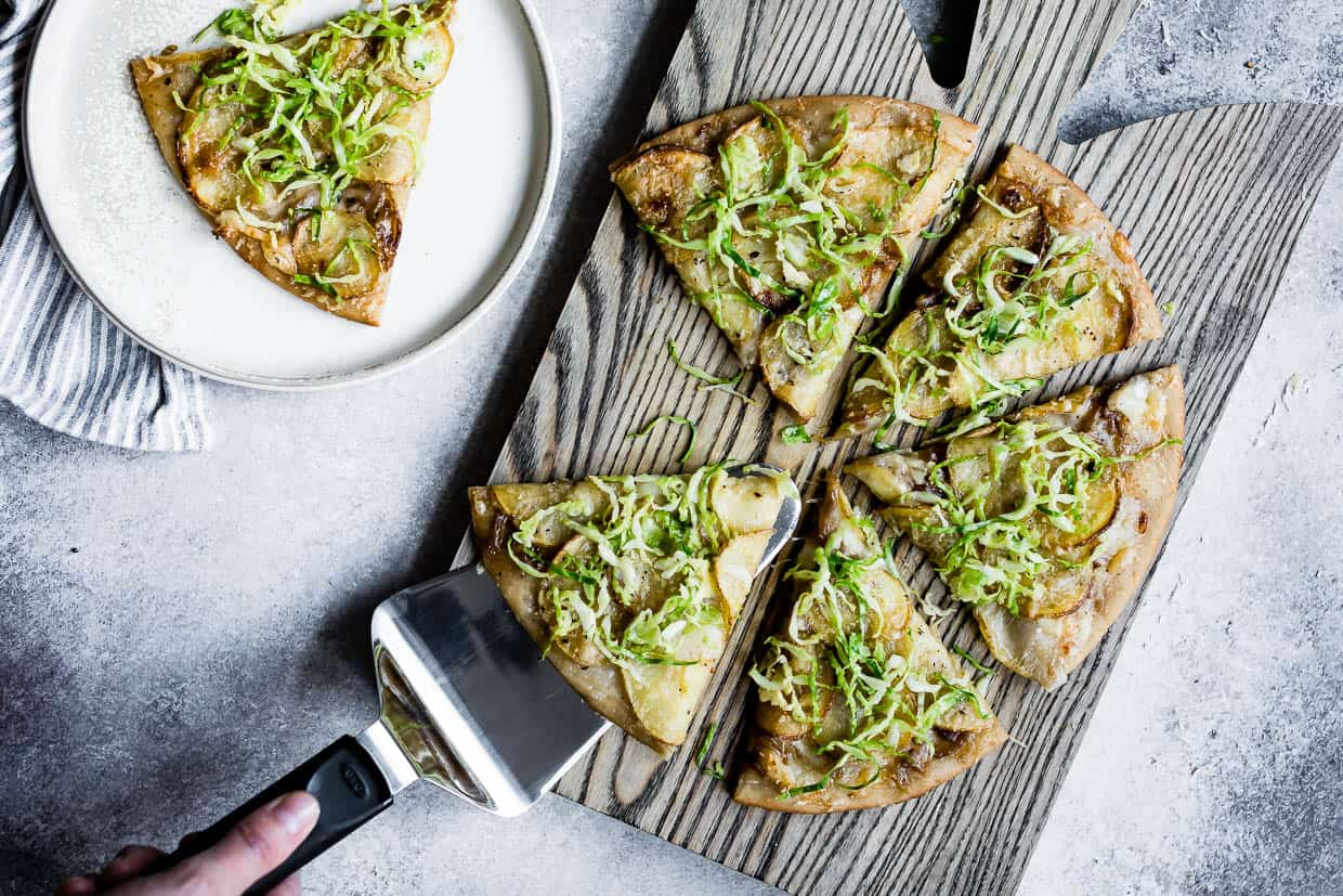 Roasted Potato Pizza with Shaved Brussels Sprout Slaw