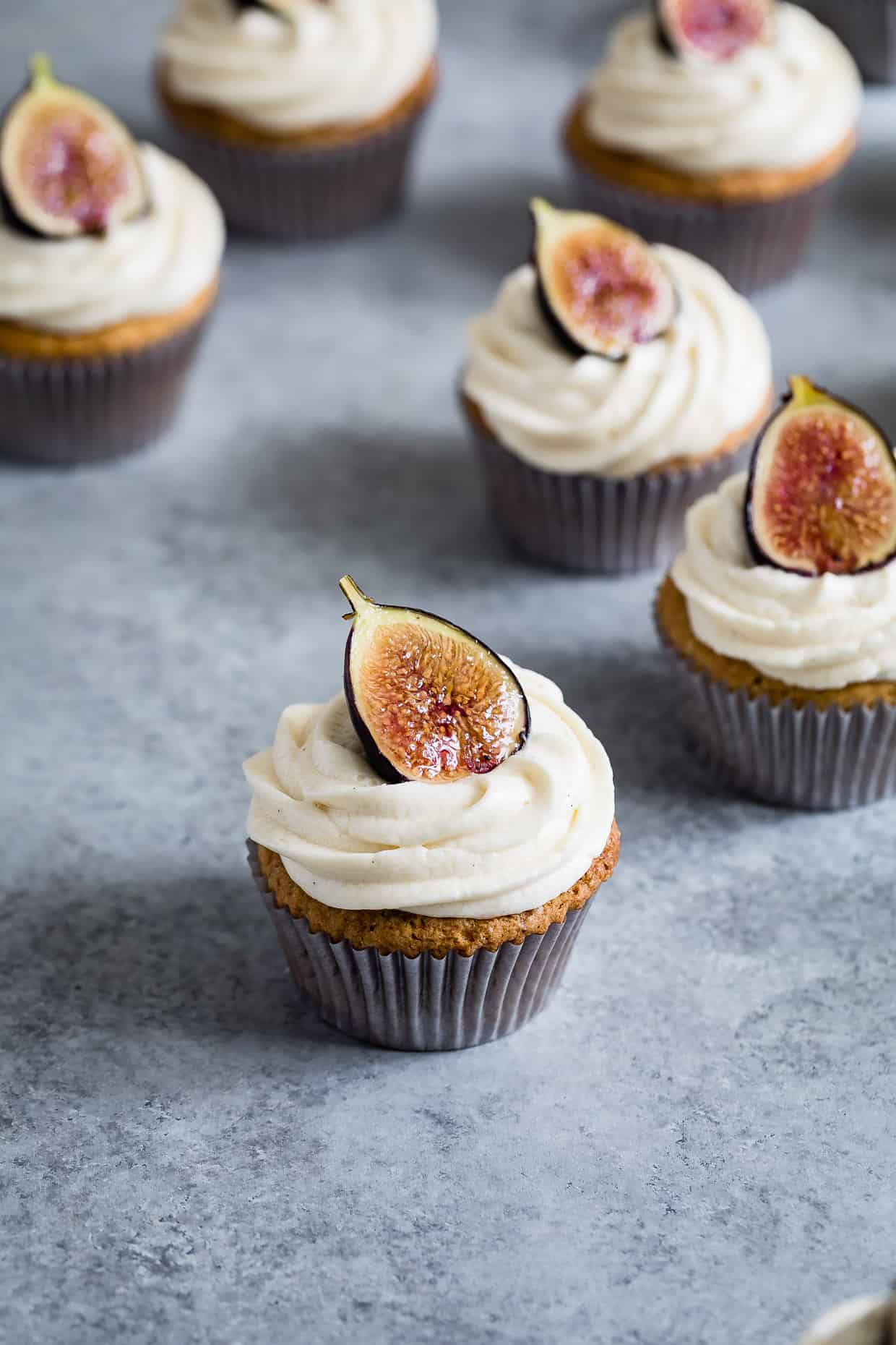 Gluten-Free Vanilla Cupcakes with Goat Cheese Frosting & Brûléed Figs