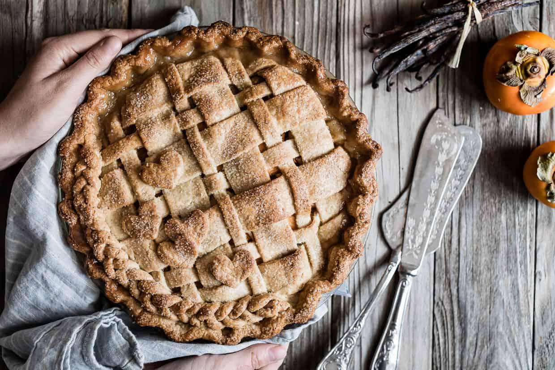 Vanilla Bean Pear Persimmon Pie