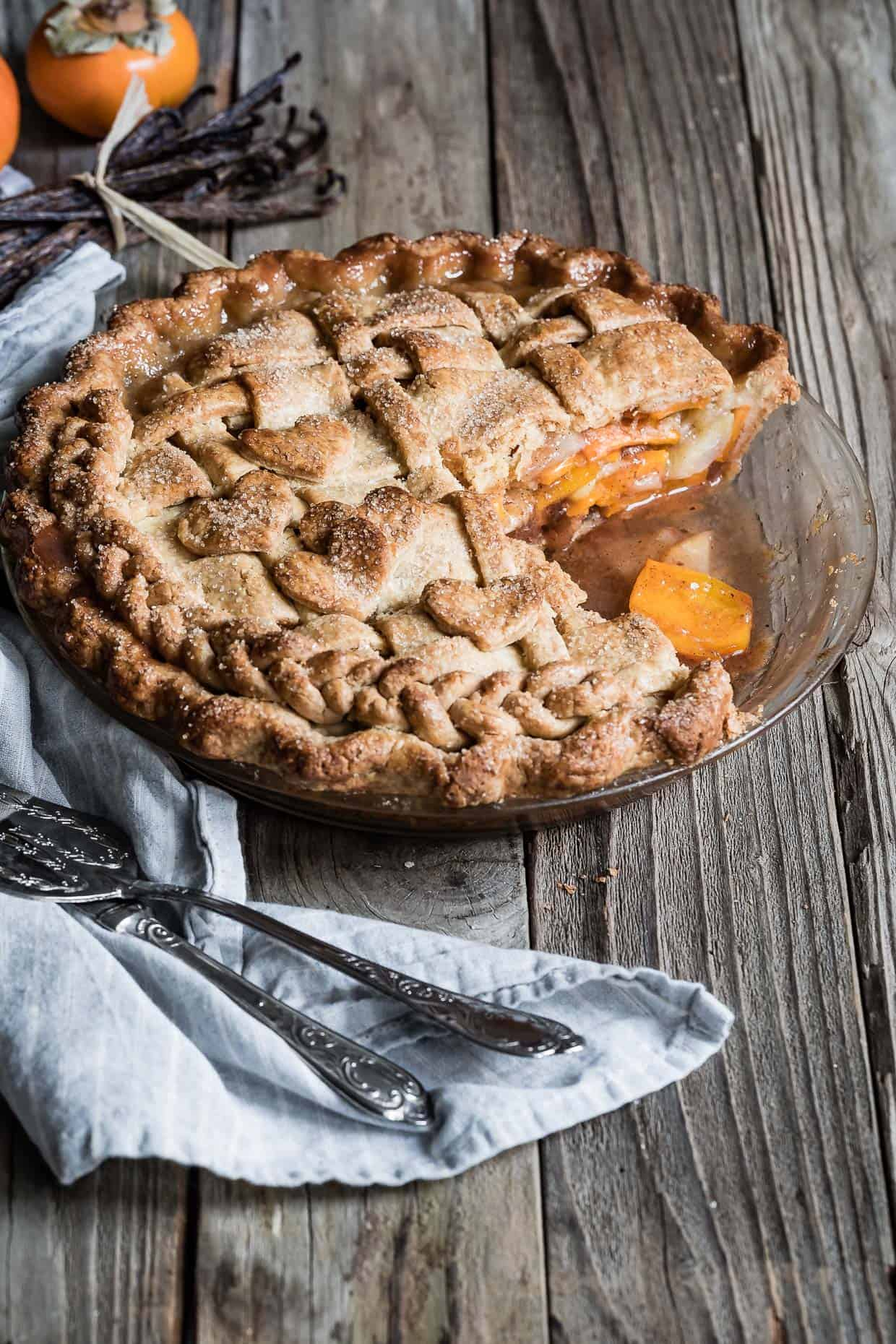 Pear and Fuyu Persimmon Pie with Gluten-Free Pie Crust