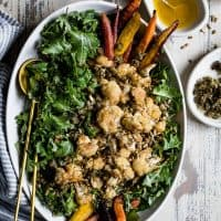 Roasted Cauliflower Kale Salad with Lemon Brown Butter Dressing