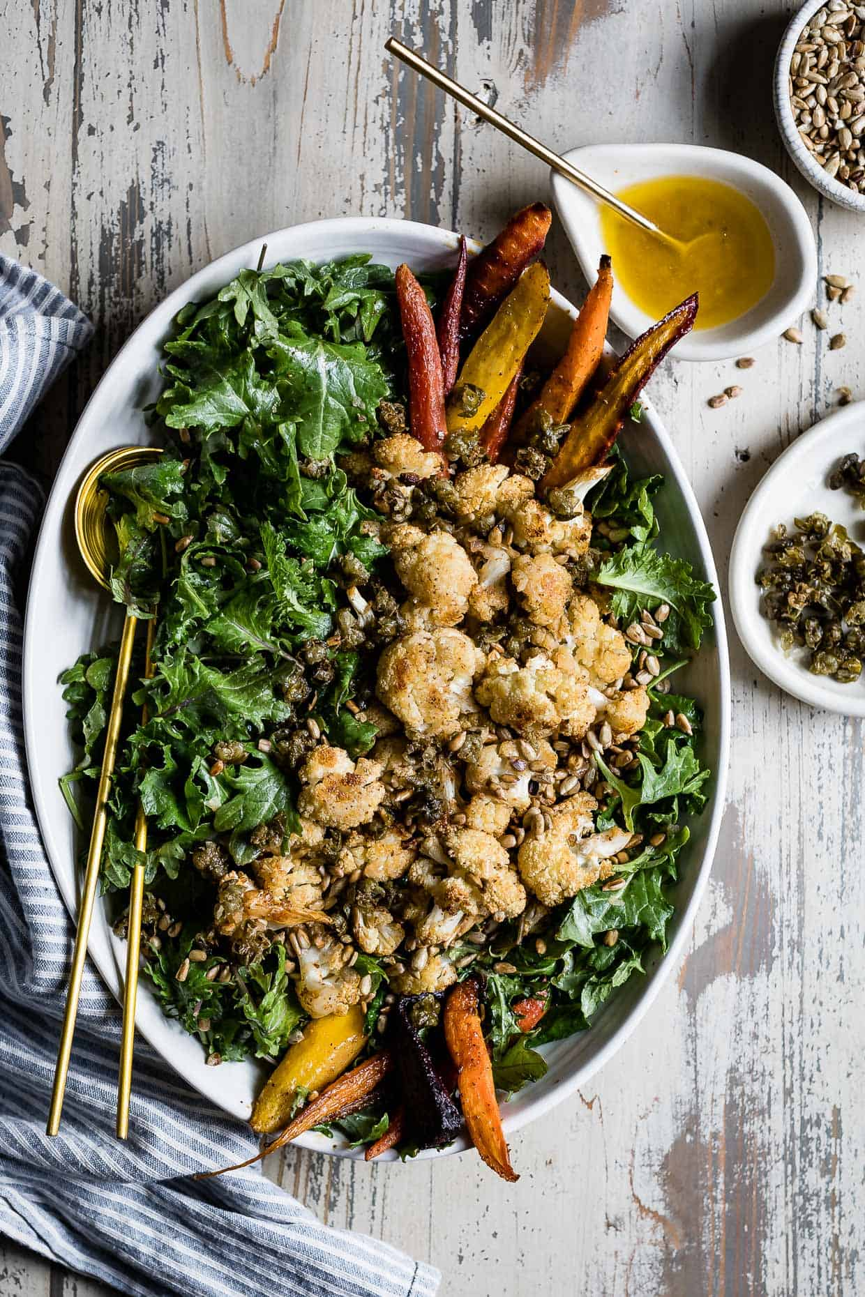 Roasted Cauliflower Kale Salad with Lemon Brown Butter Dressing and Crispy Capers