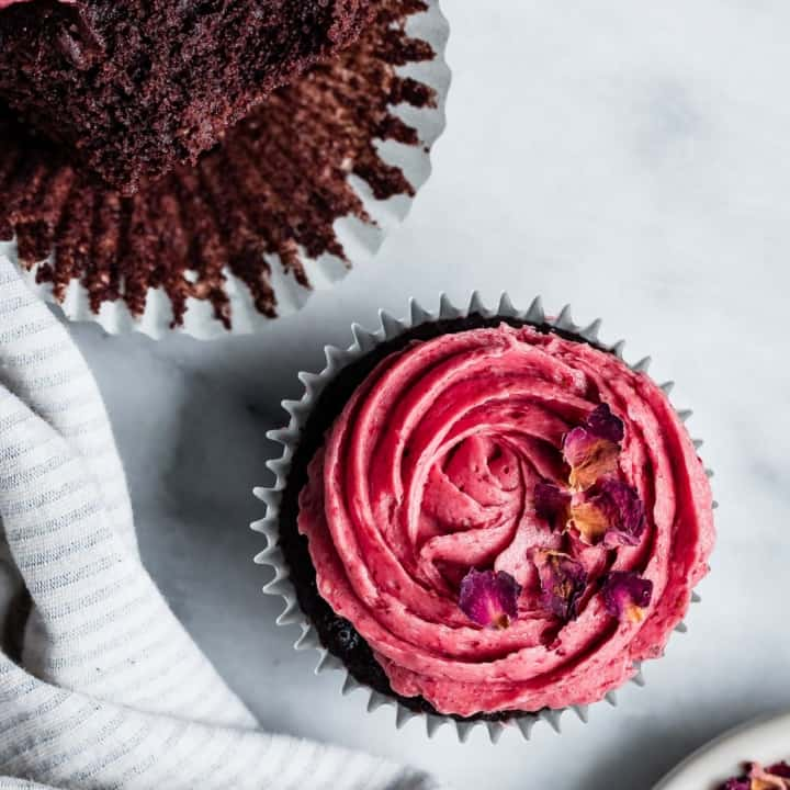 Gluten-Free Chocolate Cupcakes with Strawberry Rose Buttercream