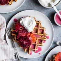 Oat Chamomile Waffles with Blood Orange Glaze
