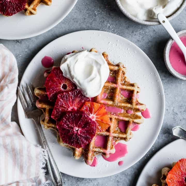 Oat Chamomile Waffles with Blood Orange Glaze