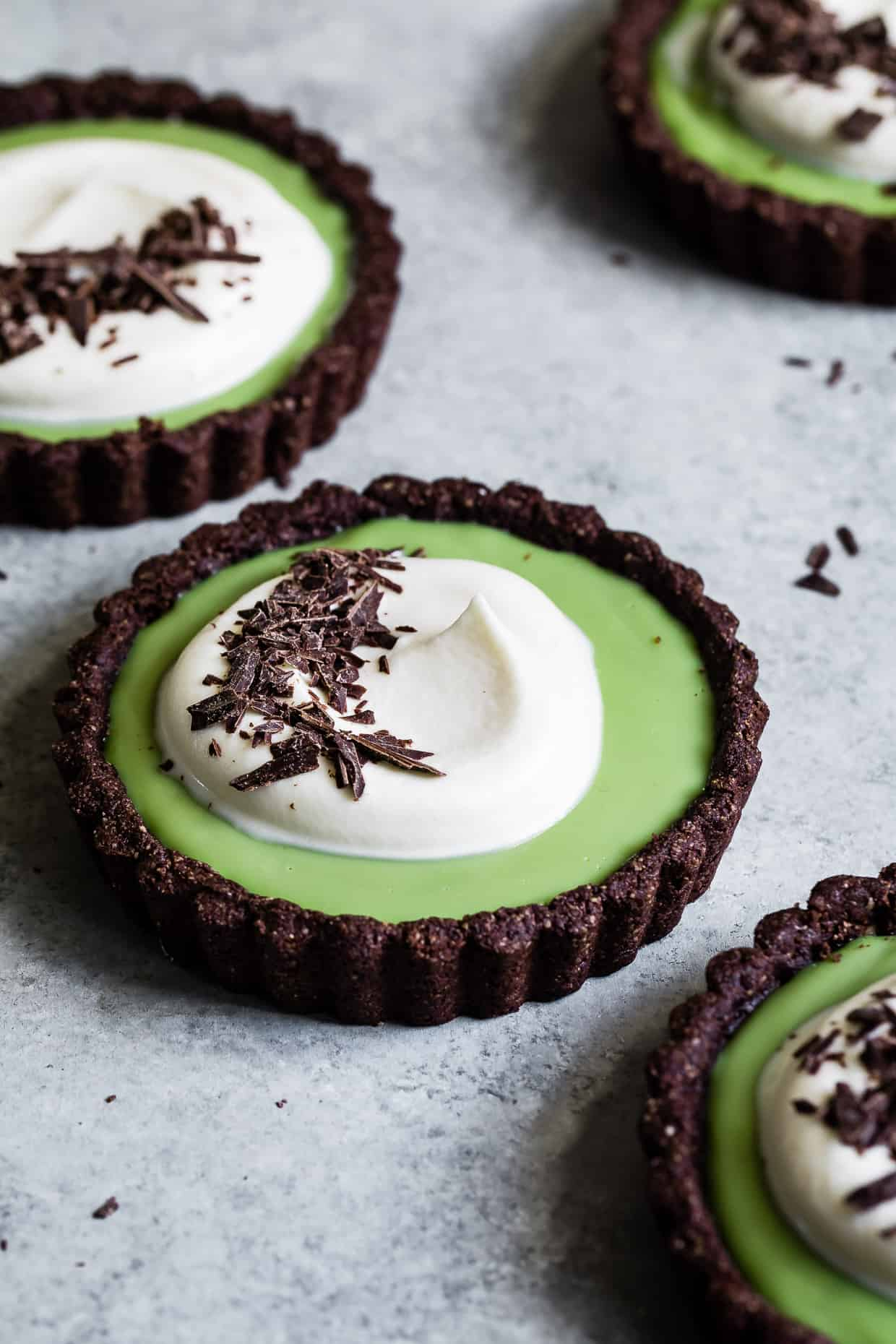 Chocolate Matcha Cream Tarts