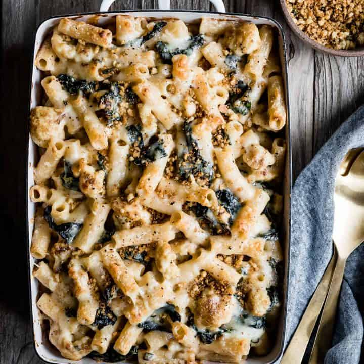 Cheesy Cauliflower and Kale Baked Rigatoni