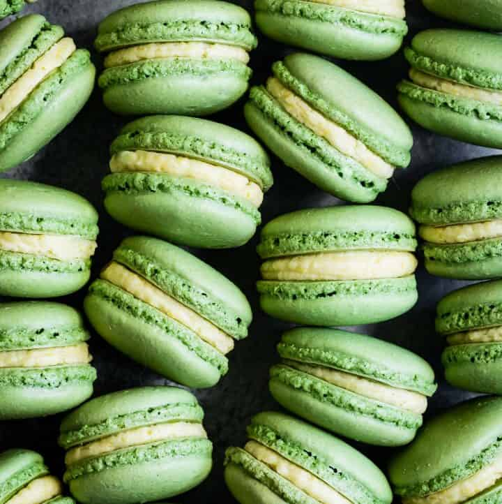 Matcha Macarons with Mango Buttercream