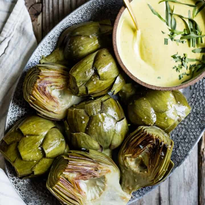 White Wine Braised Artichokes with Cashew Mandarin Tarragon Aioli