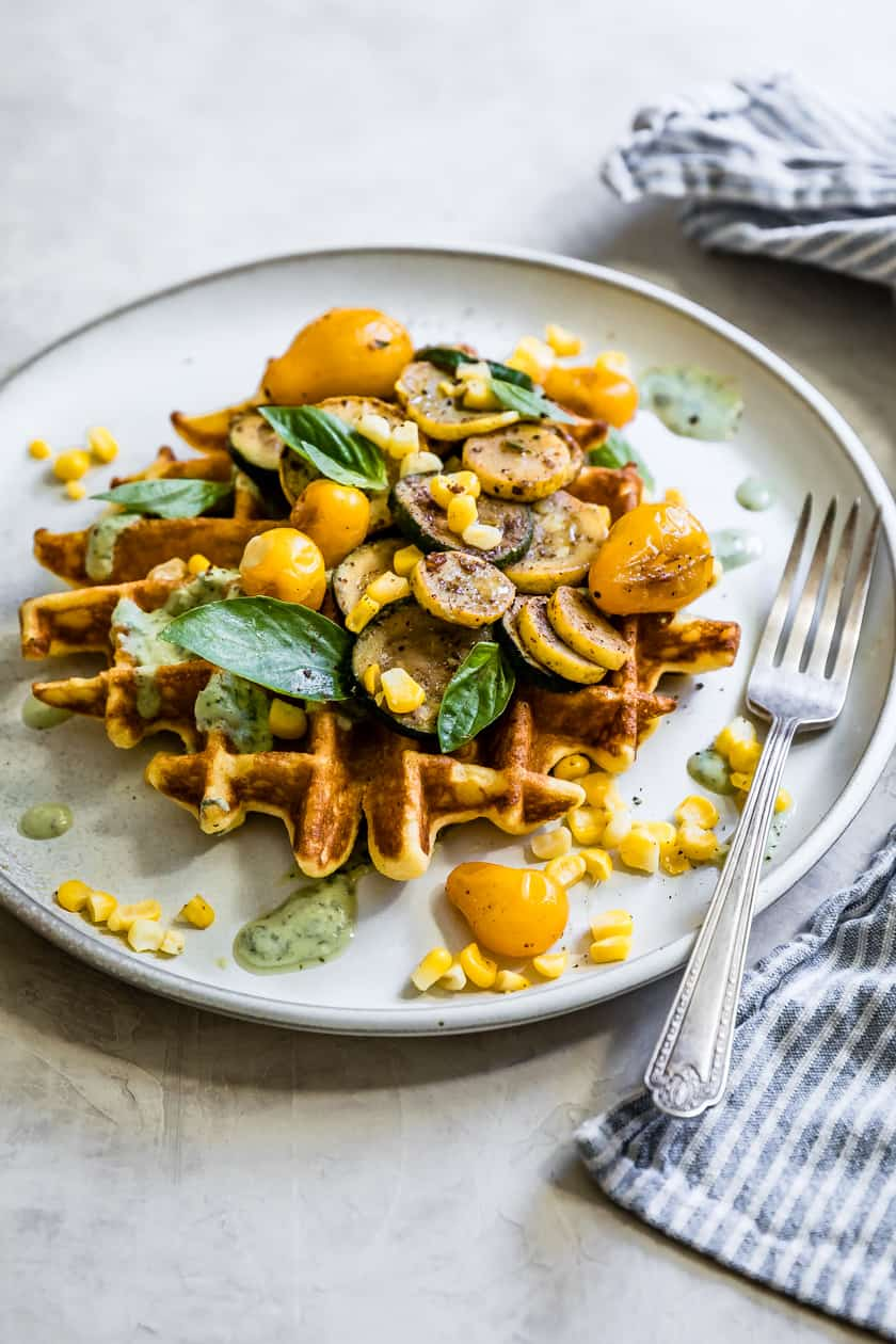Savory Corn Flour Waffles with Sumac Veggies & Basil Yogurt Sauce {Gluten-Free}