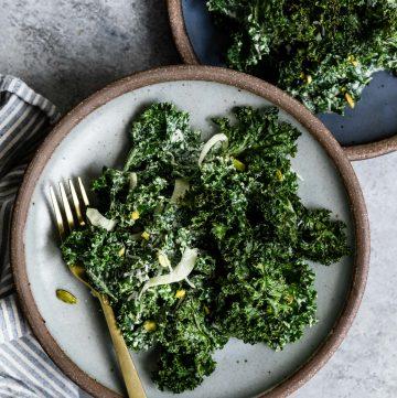 Double Kale Salad with Honey Pistachio Dressing