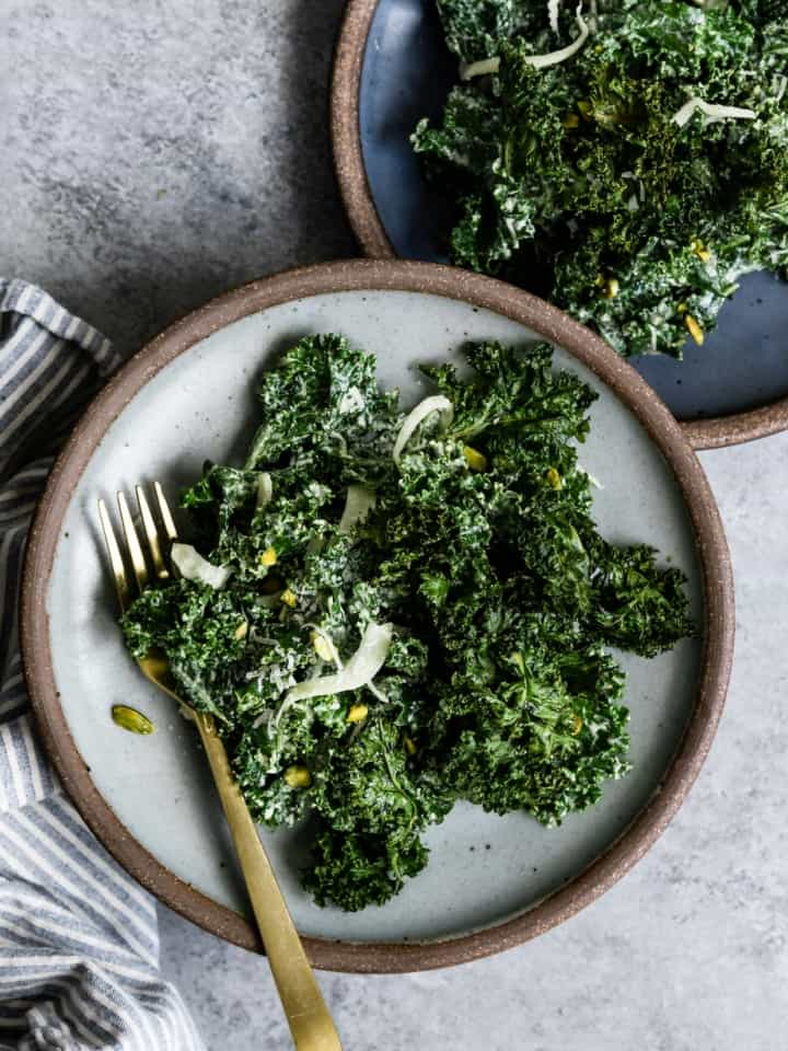 Double Kale Salad with Honey Pistachio Dressing