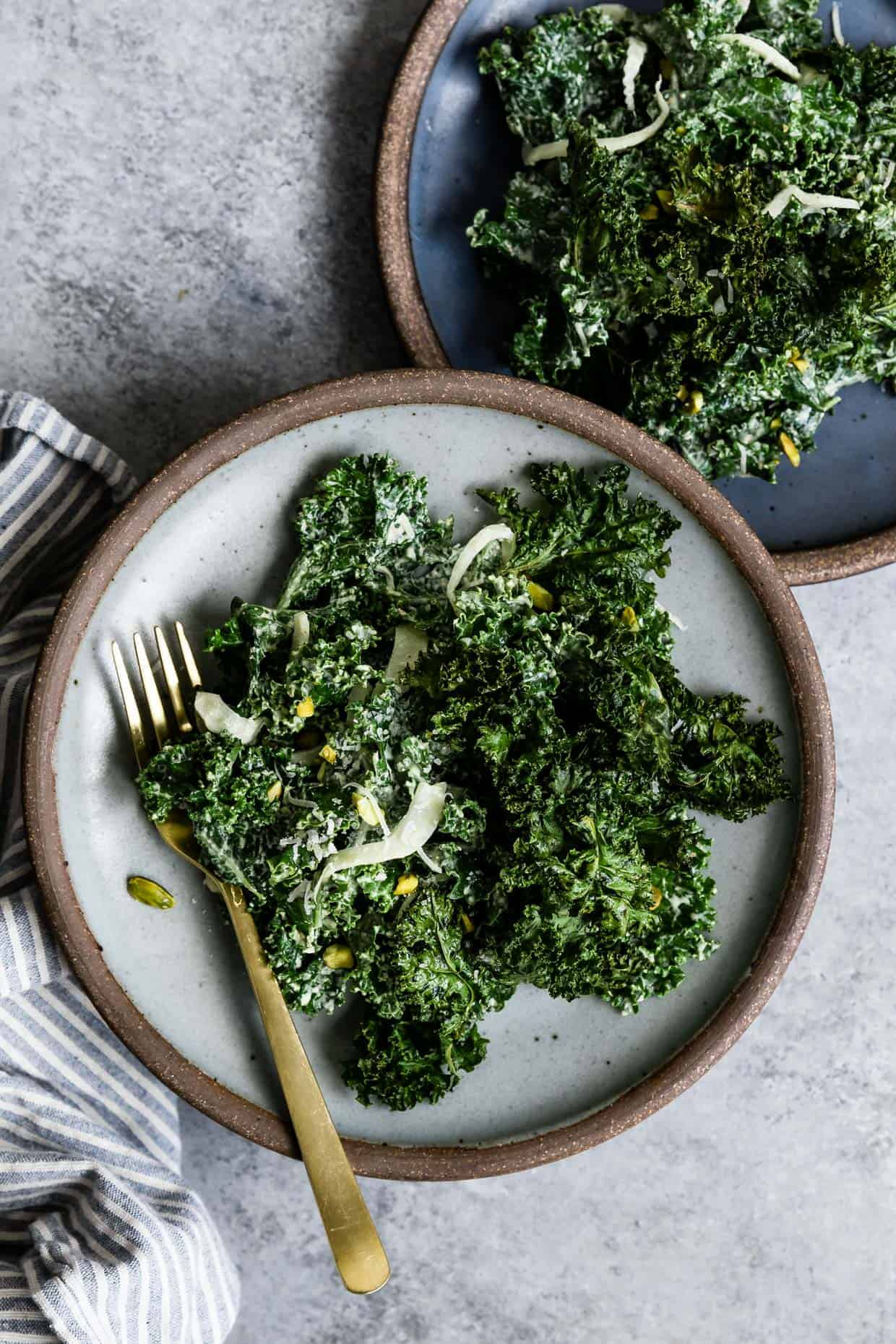 Double Kale Salad with Creamy Pistachio Dressing