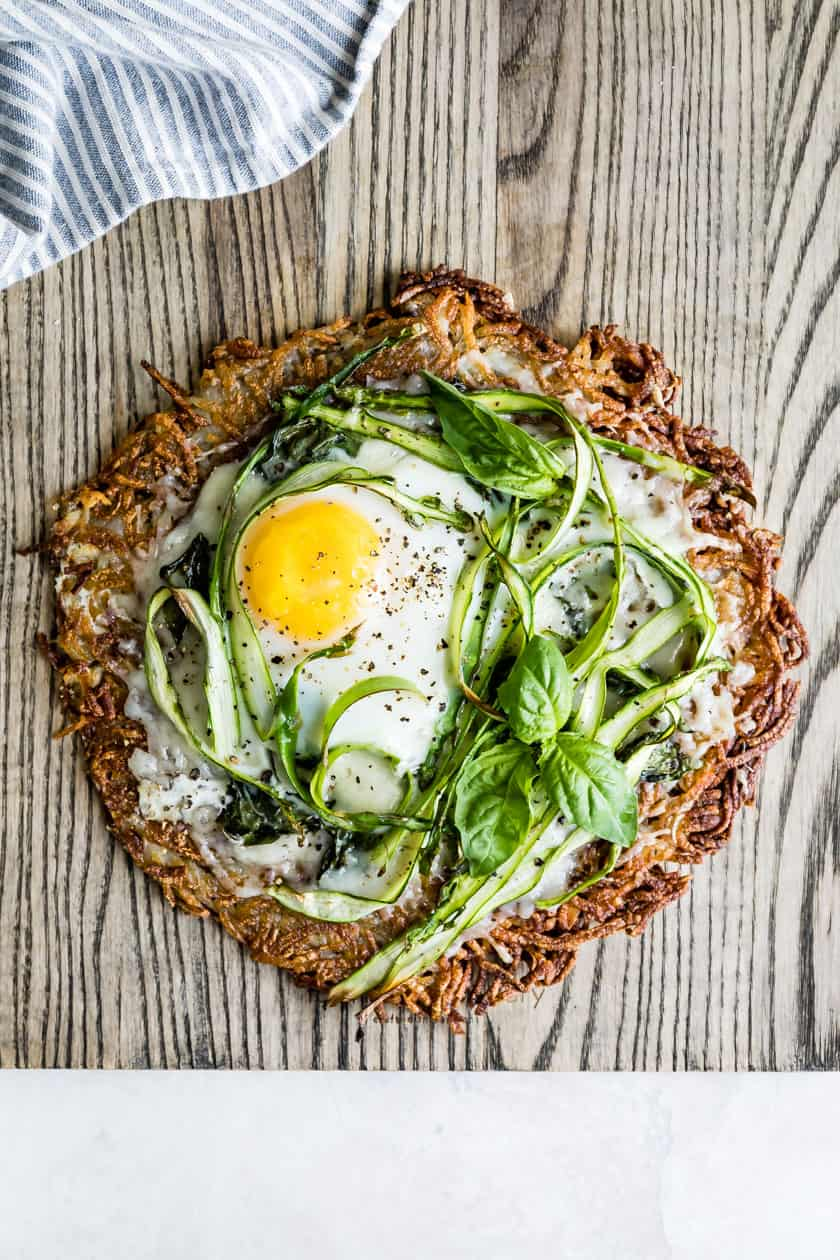Hash Brown Breakfast Pizza with Asparagus