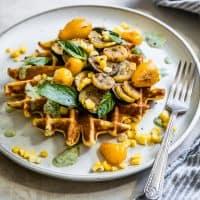 Ghee Corn Flour Waffles with Sumac Veggies & Basil Yogurt Sauce {Gluten-Free}