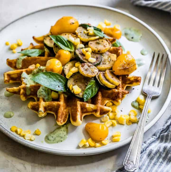 Ghee Corn Flour Waffles with Sumac Veggies & Basil Yogurt Sauce