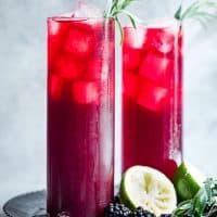 Blackberry Hibiscus Spritzer with Tarragon