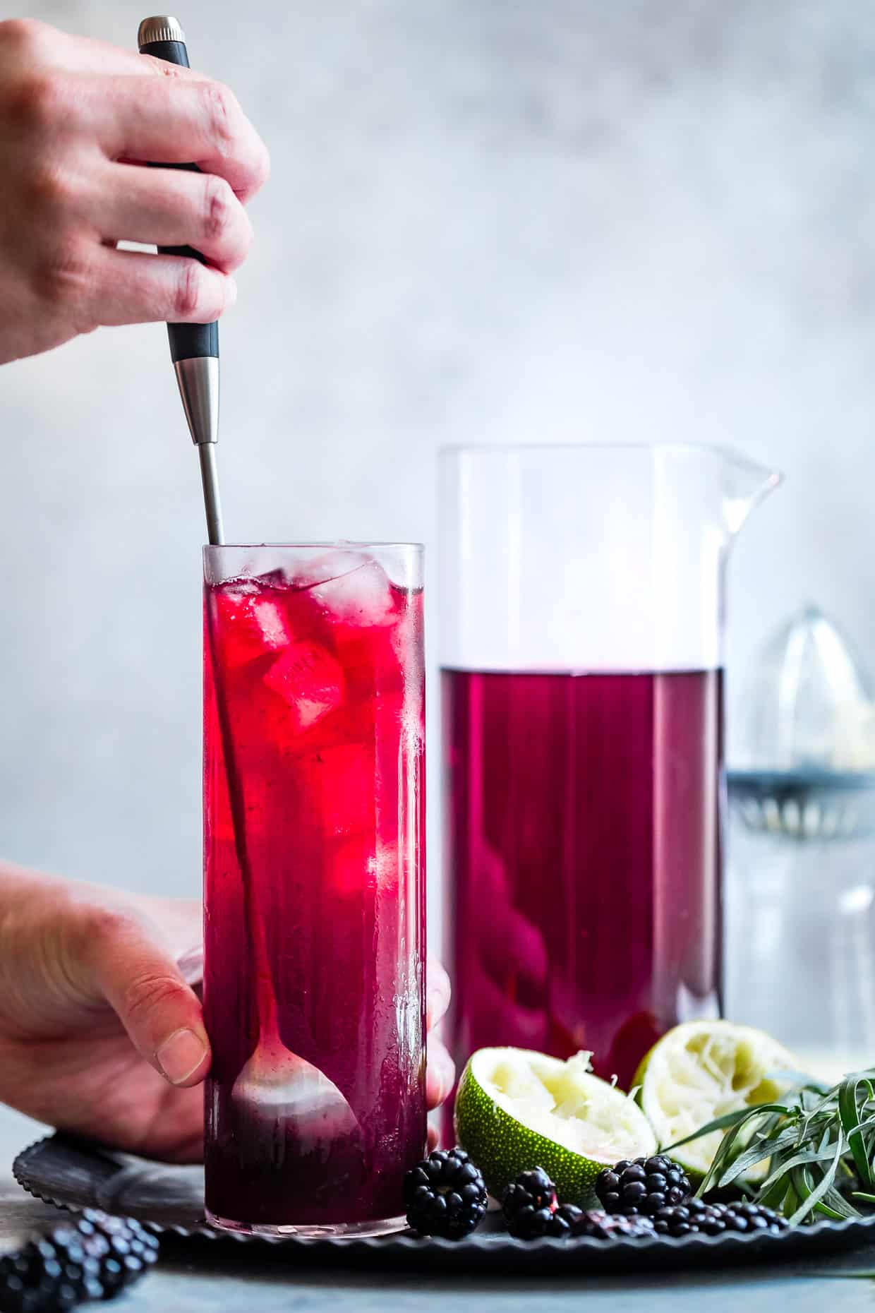 Blackberry Hibiscus Spritzer with Tarragon #mocktail #recipe #hibiscus