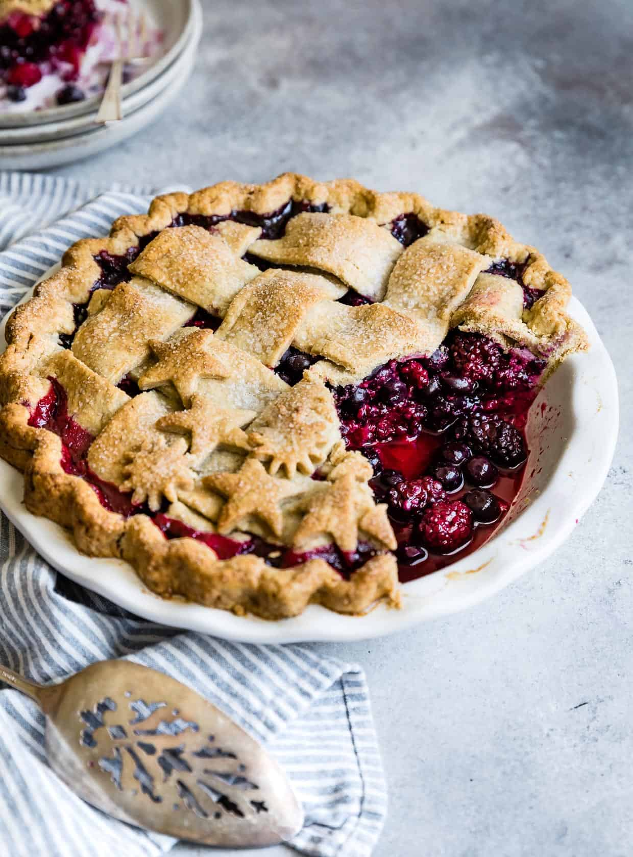 Triple Berry Pie Gluten-Free Cardamom Crust #pie #dessert #glutenfree #berry