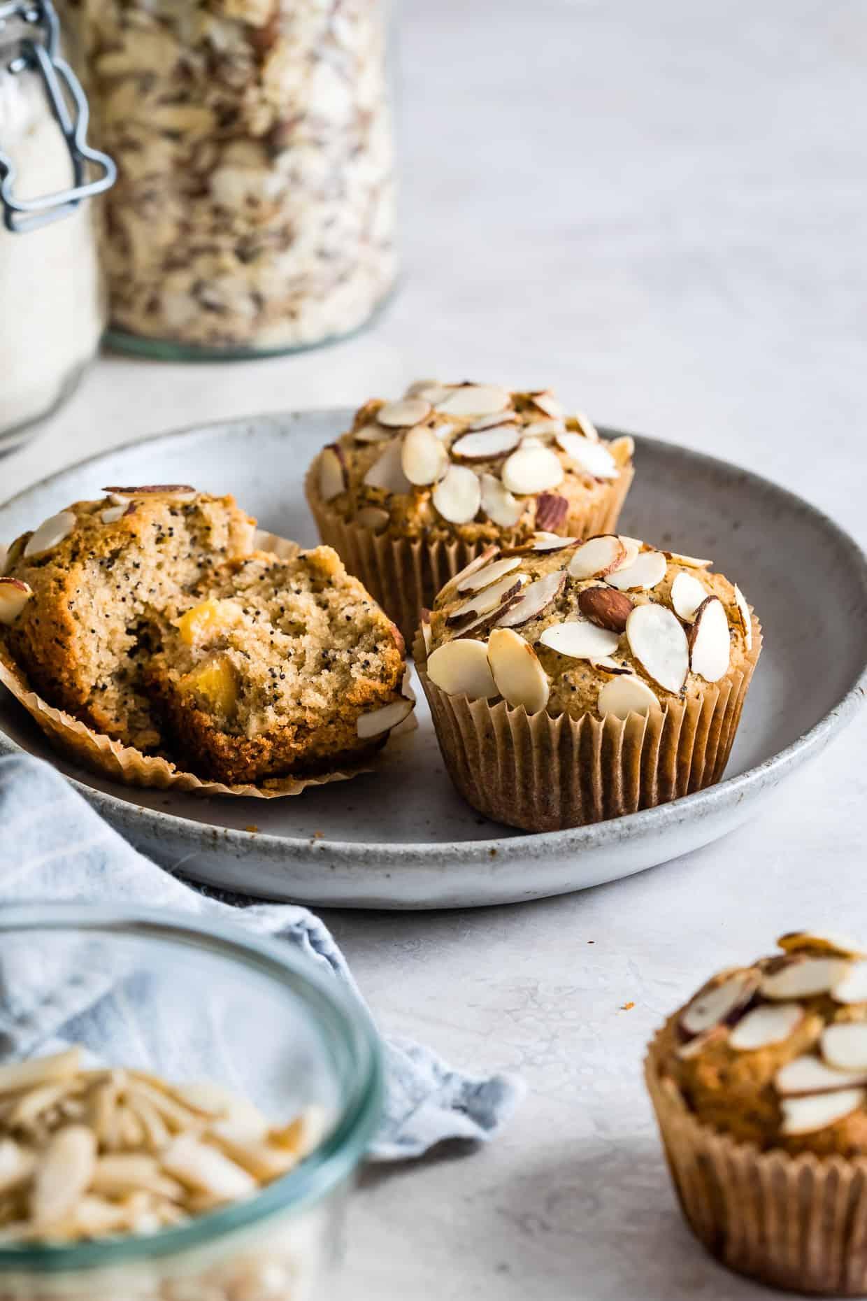 Peach Poppy Seed Almond Flour Muffins