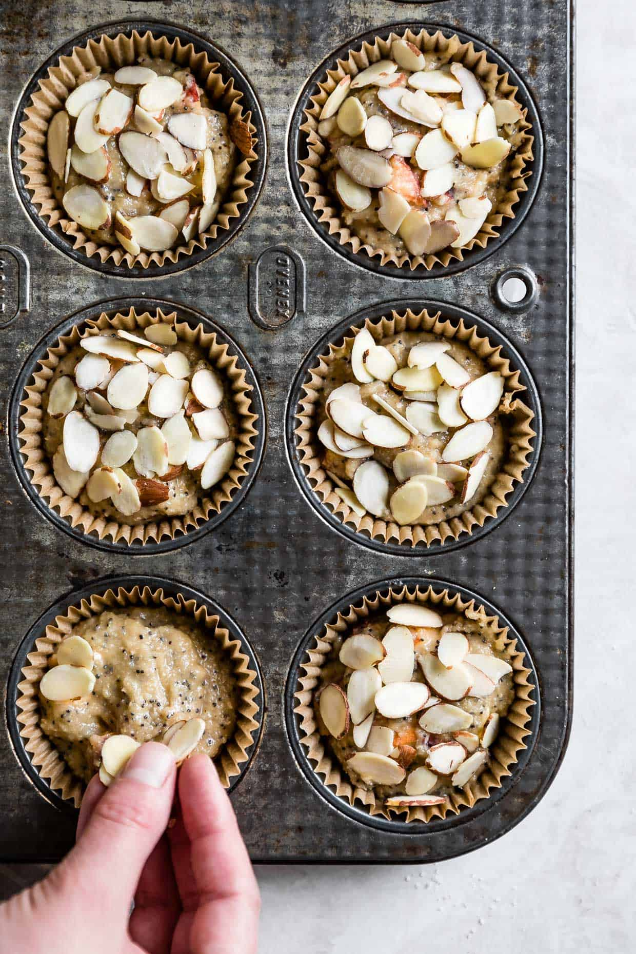 Poppy Seed Muffins with Almonds in Baking Pan
