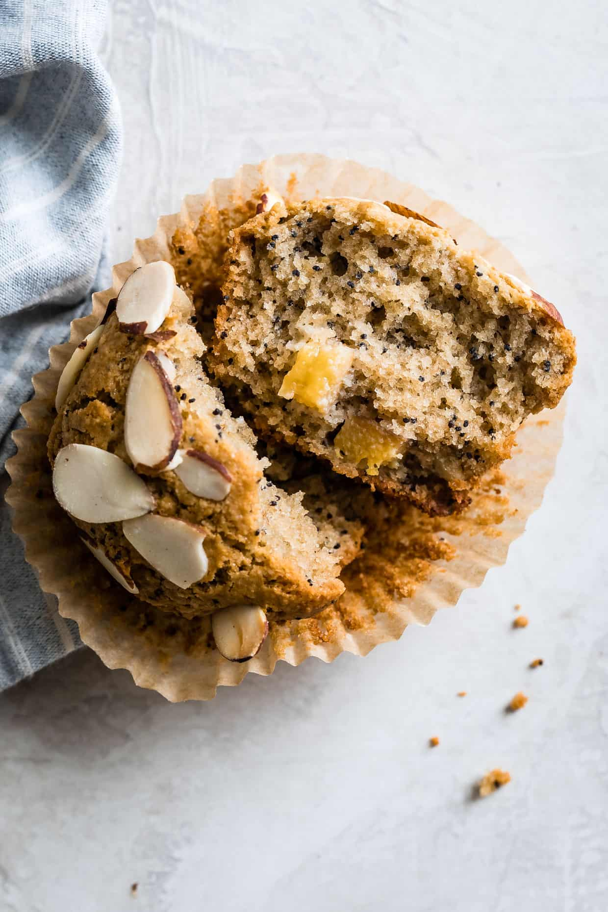 Peach Muffins with Almonds and Poppy Seeds