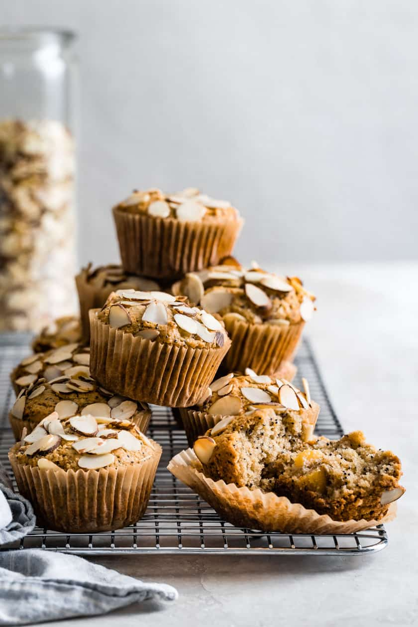 Poppy Seed Almond Flour Muffins with Peaches