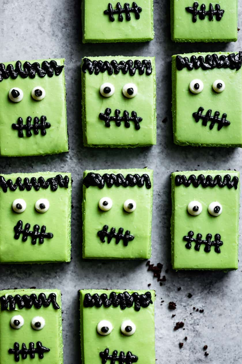 Halloween Themed Food: Frankenstein Matcha Cheesecake
