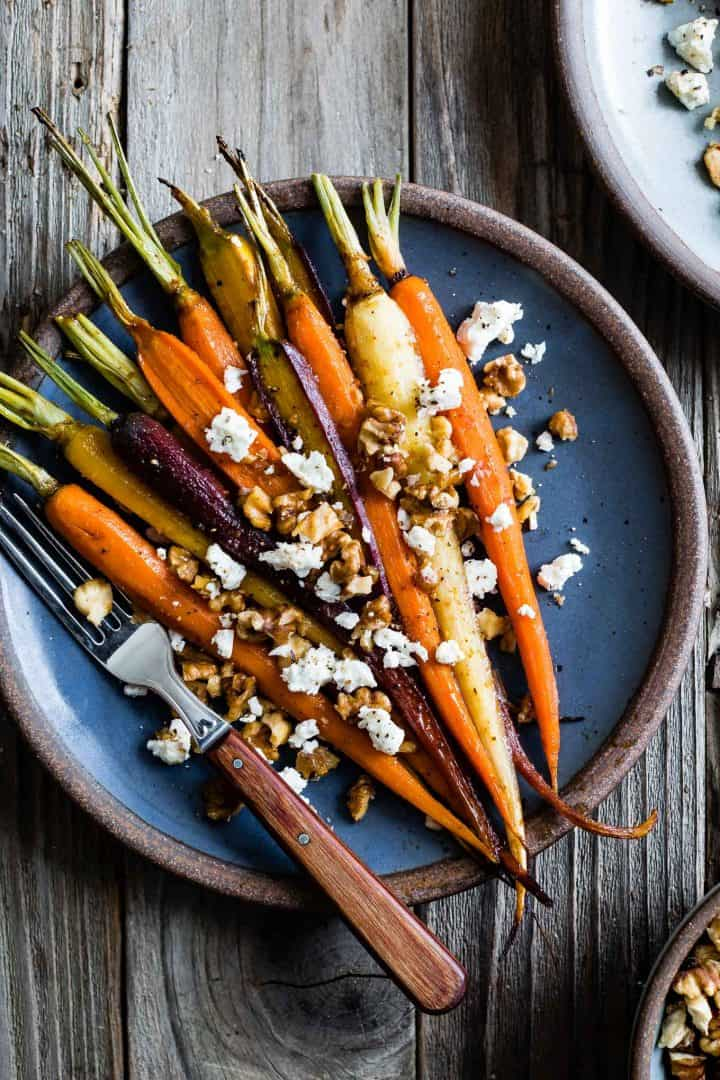 Maple Glazed Carrots with Walnuts & Feta