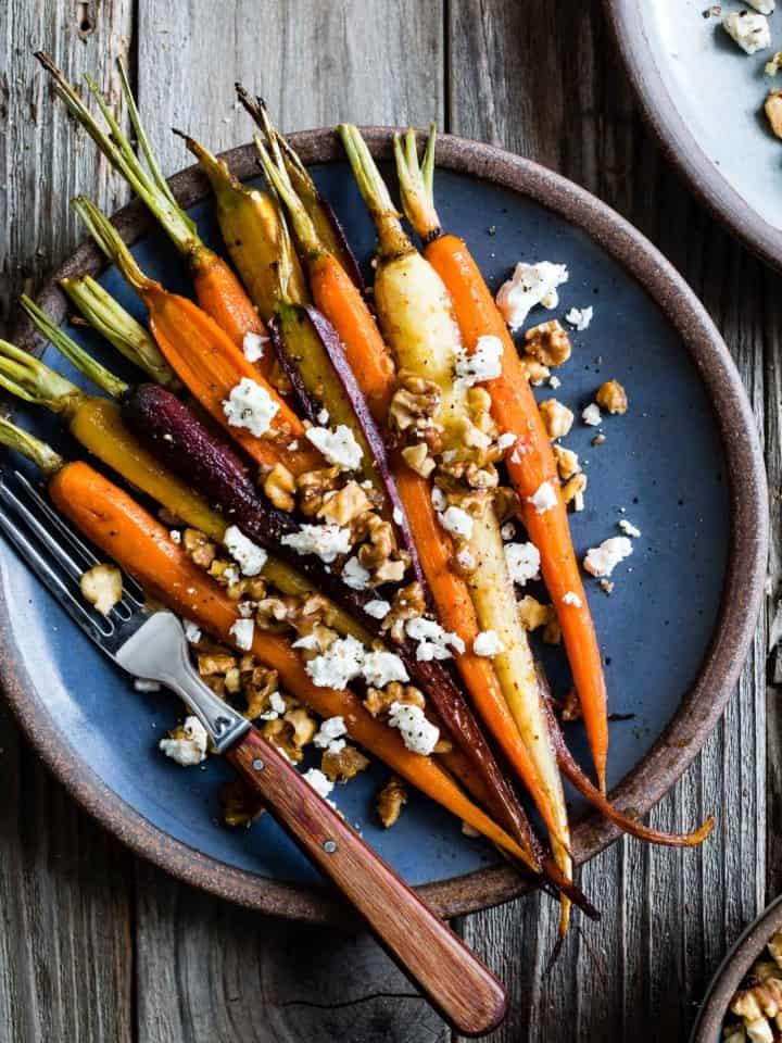 Maple Glazed Carrots with Walnuts & Feta