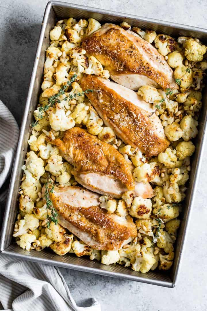 Parmesan Roasted Cauliflower and Chicken Sheet Pan Dinner