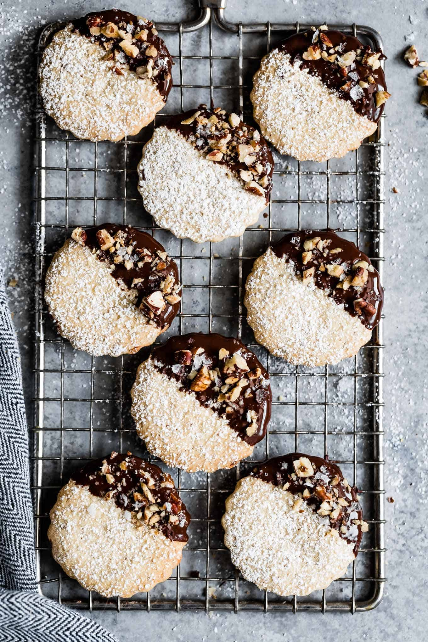 Gluten-Free Chocolate Pecan Shortbread Cookies