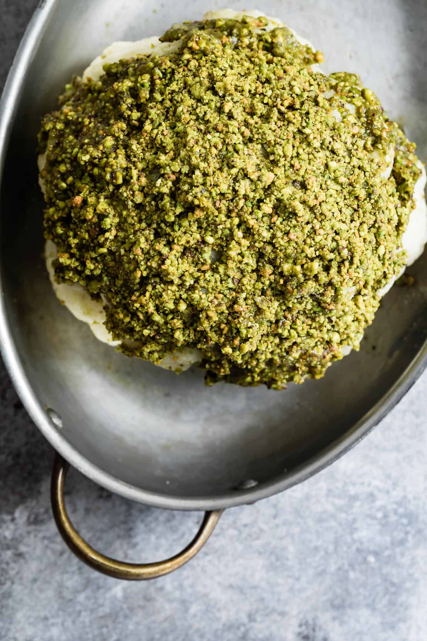 Pistachio-Crusted Whole Roasted Cauliflower Recipe