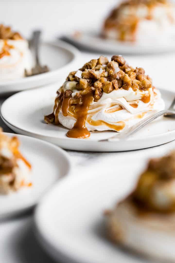 Salted Caramel Cheesecake Mini Pavlova Cakes