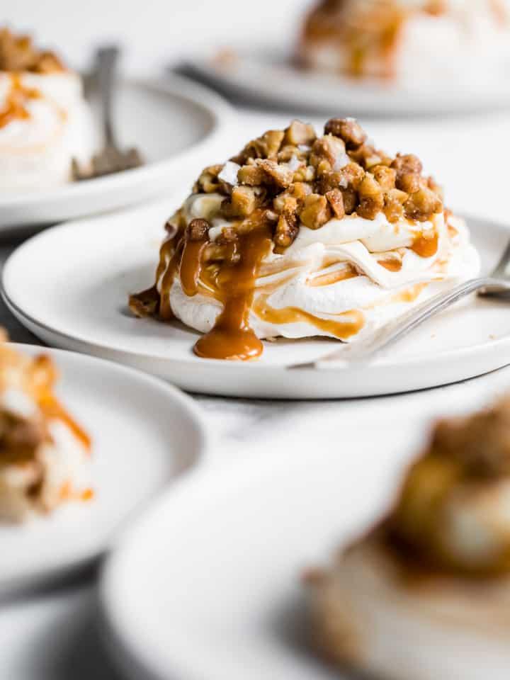 Salted Caramel Cheesecake Mini Pavlova Cakes