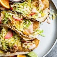 Gluten-Free Baja Fish Tacos with Chipotle Cream Sauce