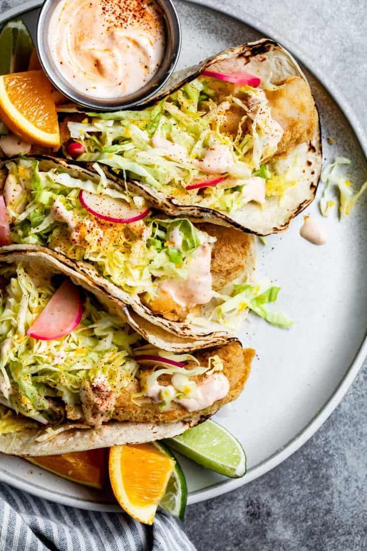 Gluten-Free Fried Fish Tacos with Chipotle Cream Sauce