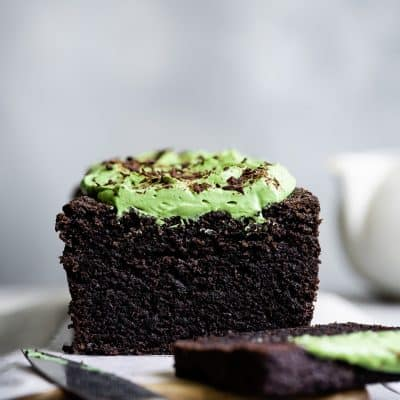 Gluten-Free Chocolate Black Sesame Cake with Matcha Whipped Mascarpone
