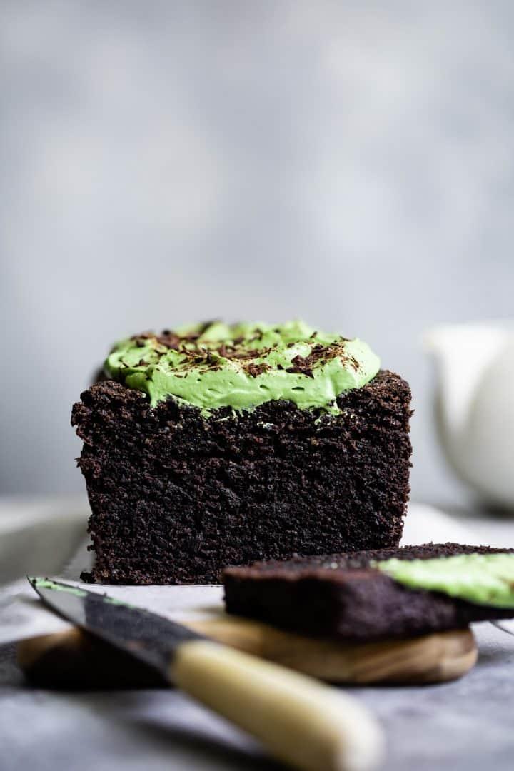 Gluten-Free Chocolate Black Sesame Cake with Matcha Whipped Mascarpone