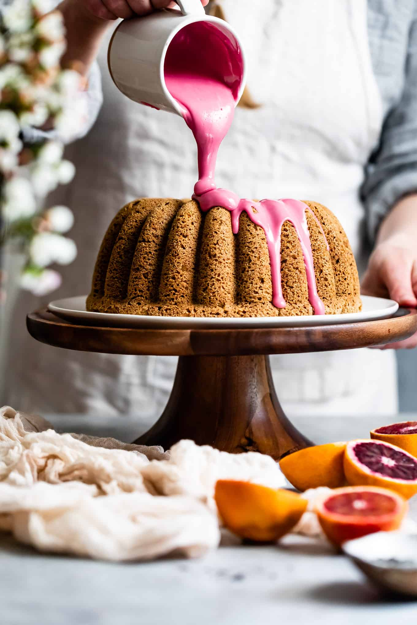 Earl Grey Cake with Blood Orange Icing
