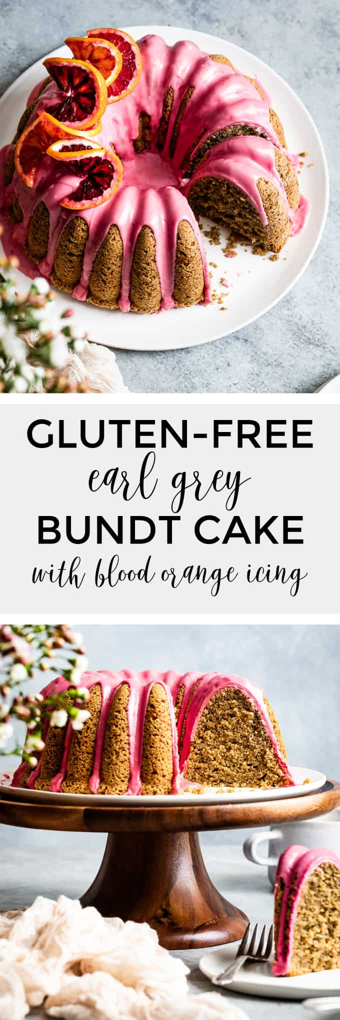 Gluten-Free Earl Grey Cake Recipe with Blood Orange Icing