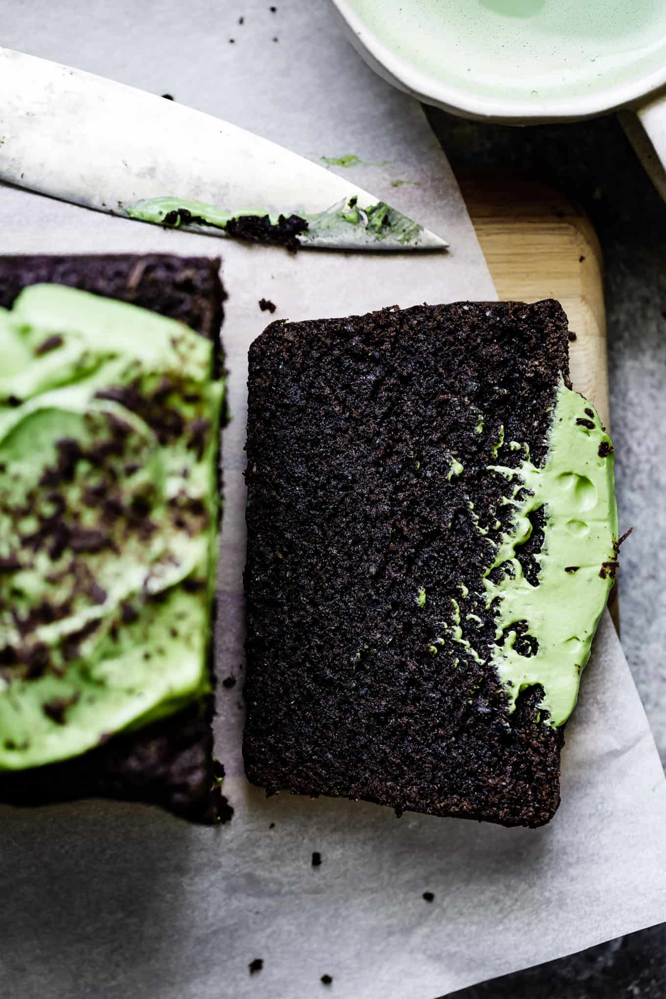 Black Sesame Chocolate Loaf Cake with Matcha Frosting