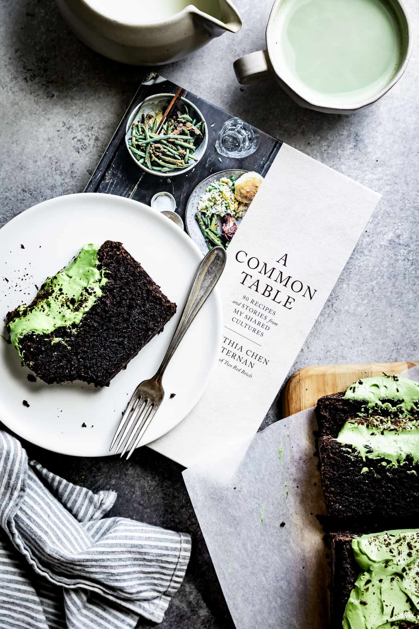 Chocolate Black Sesame Dessert Cake with Matcha Frosting